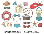 summer vintage set with hand... | Shutterstock . vector #663968263