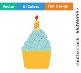 first birthday cake icon. flat... | Shutterstock .eps vector #663969997