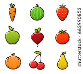 fruit vegetables  new icons of... | Shutterstock .eps vector #663990853