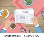 man reading the latest news at... | Shutterstock . vector #663996727