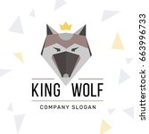wolf logo with crown | Shutterstock .eps vector #663996733