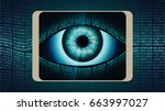 the all seeing eye of big... | Shutterstock . vector #663997027