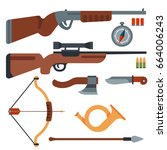 hunting weapons and symbols... | Shutterstock .eps vector #664006243