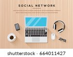 workplace with laptop.... | Shutterstock .eps vector #664011427