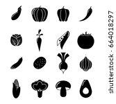 vegetables icons set | Shutterstock .eps vector #664018297