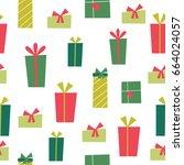 christmas gift pattern | Shutterstock .eps vector #664024057