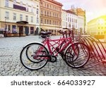 bicycle parking in a european... | Shutterstock . vector #664033927