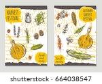 autumn harvest festival... | Shutterstock .eps vector #664038547
