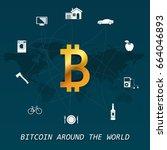 bitcoin around the world  ... | Shutterstock .eps vector #664046893