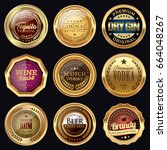 set of drink badges. golden... | Shutterstock .eps vector #664048267