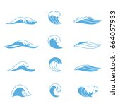 ocean or sea waves  surf and... | Shutterstock .eps vector #664057933