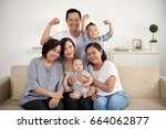 portrait of big asian family... | Shutterstock . vector #664062877
