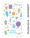 happy birthday card.... | Shutterstock . vector #664068607