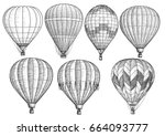 hot air balloon collection... | Shutterstock .eps vector #664093777