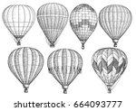 hot air balloon collection... | Shutterstock .eps vector #664093777
