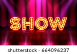 the stage of the show and the... | Shutterstock .eps vector #664096237