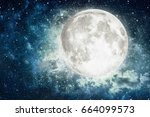 night sky with stars and full... | Shutterstock . vector #664099573