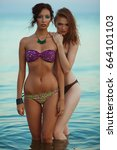 Small photo of Happy together concept. Beautiful couple of models with perfect arty make-up in bikini at the seaside. Long wet hair and waterproof decorative cosmetics. Summer evening. Vintage style. Outdoor shot