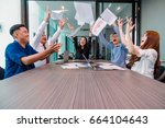 group of asian business people...   Shutterstock . vector #664104643