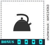 teapot kettle icon flat. simple ...