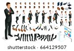 large isometric set of gestures ... | Shutterstock .eps vector #664129507