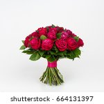 bouquet of spring flowers on... | Shutterstock . vector #664131397