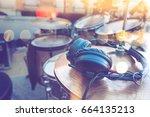 drum set detail and headphones... | Shutterstock . vector #664135213