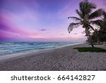 colorful sunset over tulum...   Shutterstock . vector #664142827