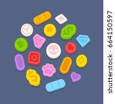 ecstasy mdma pills.... | Shutterstock .eps vector #664150597