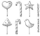 hand drawn set of different... | Shutterstock .eps vector #664154557