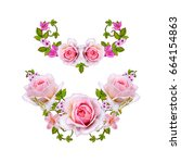 floral background. garland of... | Shutterstock . vector #664154863