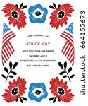 fourth of july party invitation | Shutterstock .eps vector #664155673