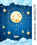 surreal night with full moon ...   Shutterstock .eps vector #664181173