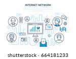 internet network  people and... | Shutterstock .eps vector #664181233