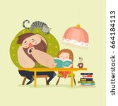 girl with dad doing homework | Shutterstock .eps vector #664184113
