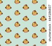 vector pattern of monkey. | Shutterstock .eps vector #664186837