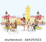 fashion girls in the street... | Shutterstock .eps vector #664192423