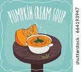 deep plate with hot pumpkin...   Shutterstock .eps vector #664193947