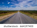 straight road with beautiful... | Shutterstock . vector #664197403