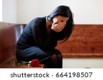 people  grief and mourning... | Shutterstock . vector #664198507