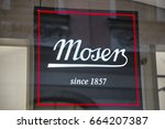 Small photo of PRAGUE, CZECH REPUBLIC - JUNE 09, 2017: Moser store sign, is a luxury glass manufacturer based in Karlovy Vary, Czech Republic, previously Karlsbad in Bohemia, Austria-Hungary.