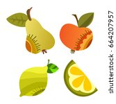 vector fruits and vegetables on ... | Shutterstock .eps vector #664207957