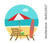 the loungers on the beach in a... | Shutterstock .eps vector #664211017
