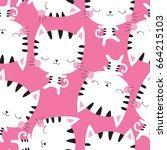 Seamless White Cat Pattern...