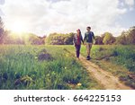 travel  hiking  backpacking ... | Shutterstock . vector #664225153