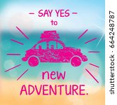 pink car icon on summer... | Shutterstock .eps vector #664248787