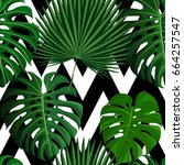 seamless pattern with green... | Shutterstock . vector #664257547