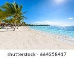akumal beach   paradise bay   ...   Shutterstock . vector #664258417