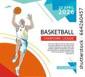 basketball flyer   poster cover ... | Shutterstock .eps vector #664260457