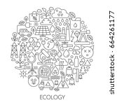 ecology technology icons in... | Shutterstock .eps vector #664261177